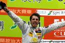 Dani Juncadella celebrates victory on the podium