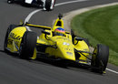 Jacques Villeneuve behind the wheel of his Schmidt Peterson Motorsport in practice for the Indy 500