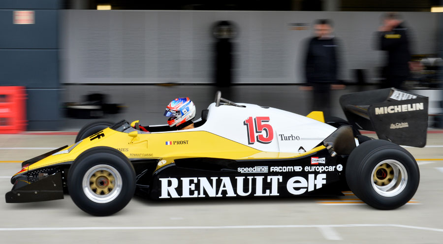 Romain Grosjean gets behind the wheel of Alain Prost's 1983 Renault RE40 at Silverstone