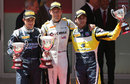 Jolyon Palmer celebrates victory in the Monaco feature race flanked by Mitch Evans and Felipe Nasr