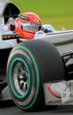 Michael Schumacher during a tough second session
