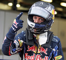 Sebastian Vettel celebrates taking pole position ahead of Mark Webber