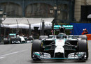 Nico Rosberg leads Lewis Hamilton through Casino Square