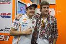 Moto GP champion Marc Marquez poses for a picture with Ferrari's Fernando Alonso at Mugello