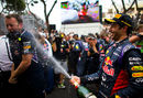 Daniel Ricciardo sprays the champagne after finishing third