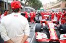 Fernando Alonso surveys the scene on the grid ahead of the race