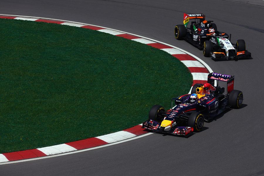 Sebastian Vettel leads Nico Hulkenberg on track