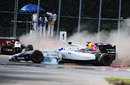 An out of control Felipe Massa crosses the path of Sebastian Vettel after making contact with Sergio Perez (rear left)