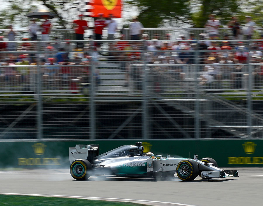 Lewis Hamilton goes straight on at the hairpin with brake failure