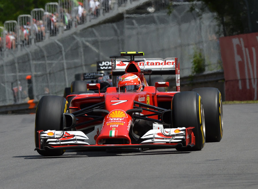 Kimi Raikkonen powers towards Turn 4 in Montreal
