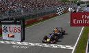 Daniel Ricciardo crosses the line for his first F1 victory