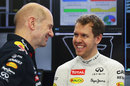 Adrian Newey and Sebastian Vettel share a joke