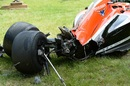 The crashed Marussia car of Jules Bianchi