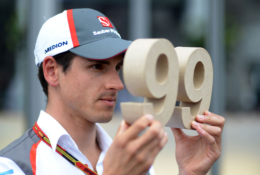 Adrian Sutil poses with his personalised number in Spielberg