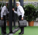 Bernie Ecclestone arrives in the paddock ahead of Friday practice