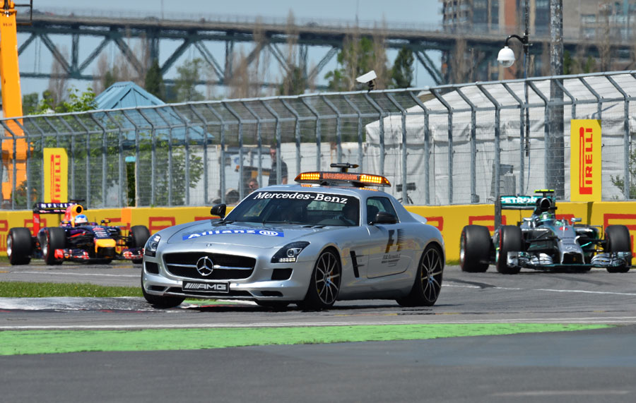 The safety car leads the pack through the final chicane