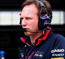 Christian Horner watches on from the pit wall