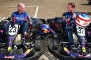 Adrian Newey and Christian Horner prepare to take to the track at a Red Bull media day