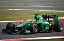 Kamui Kobayashi gets to grips with the Caterham at Silverstone