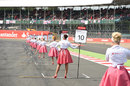Grid girls ahead of the Porsche Supercup race