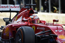 Jules Bianchi pulls out of the pit lane during his test for Ferrari