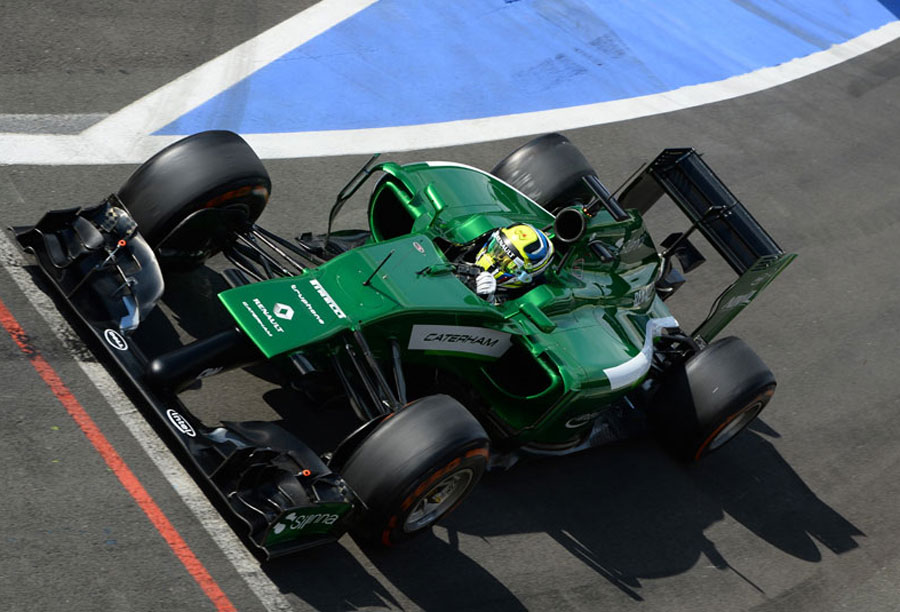 Julian Leal prepares to join the track for Caterham