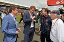 Prince Harry talks to Mark and Sir Jackie Stewart and Red Bull's Christian Horner