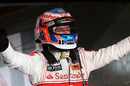 Jenson Button celebrates victory in Australia