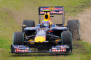 Mark Webber skids across the grass