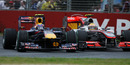 Mark Webber and Lewis Hamilton go wheel to wheel
