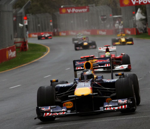 Sebastian Vettel leads the pack in the early stages