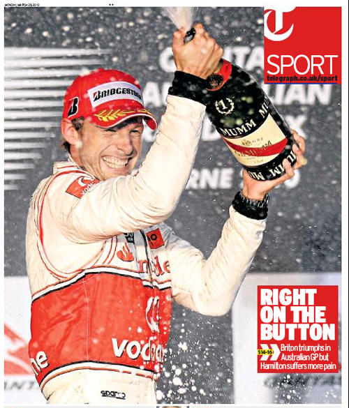 The <I>Daily Telegraph</I> leads the praise for Jenson Button