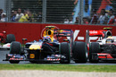 Mark Webber out-brakes himself heading into turn three