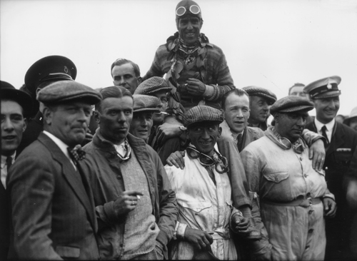 Tazio Nuvolari being carried shoulder high after winning the Ulster TT