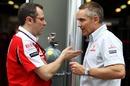 Ferrari boss Stefano Domenicali talks with McLaren CEO Martin Whitmarsh