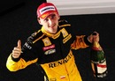 Robert Kubica celebrates his second position at the Australian Grand Prix