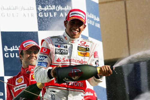 Lewis Hamilton celebrates his second place finish at the Bahrain Grand Prix