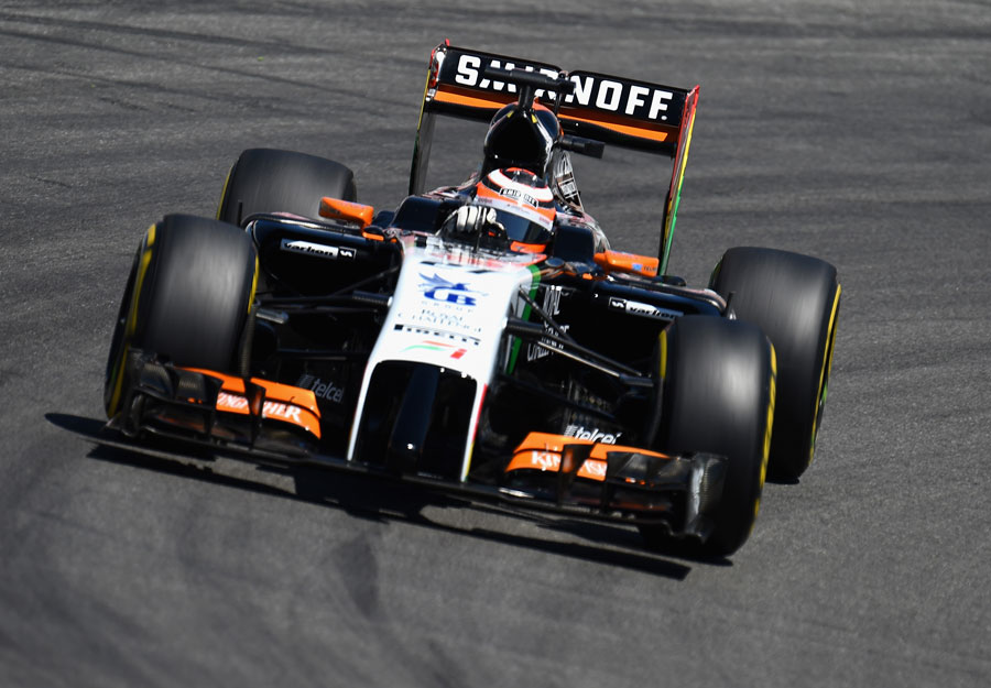 Nico Hulkenberg steers his Force India towards a corner