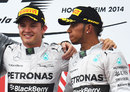 Nico Rosberg and Lewis Hamilton on the podium