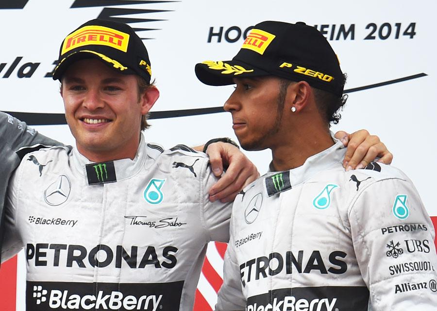 Nico Rosberg and Lewis Hamilton on the podium