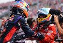Fernando Alonso congratulates Daniel Ricciardo in parc ferme