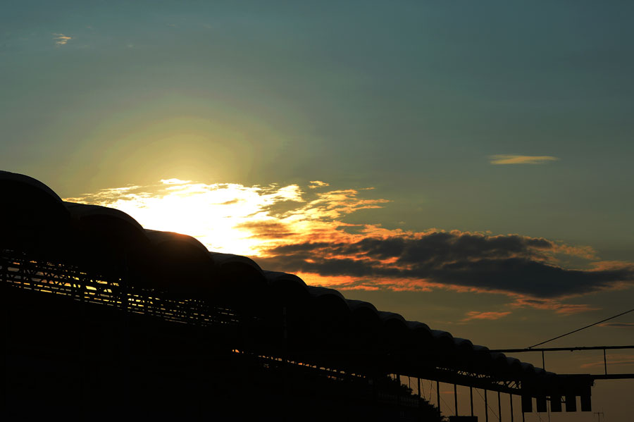The sun sets over the Hungaroring grandstand