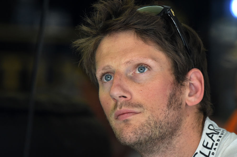 Romain Grosjean in the Lotus garage