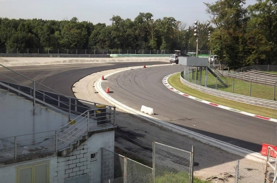 The gravel at Monza's Parabolica is replaced with tarmac