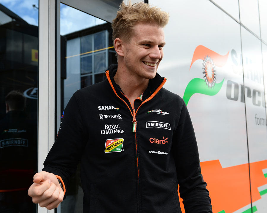 Nico Hulkenberg is all smiles in the Spa paddock on Thursday