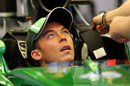 Andre Lotterer sits in the Caterham cockpit in the garage on Thursday
