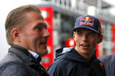 New Toro Rosso recruit Max Verstappen talks to father Jos in the paddock