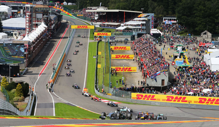Lewis Hamilton leads the field through Eau Rouge