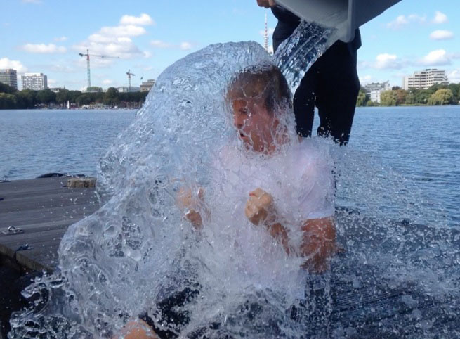 Nico Rosberg completes the ALS Ice Bucket Challenge