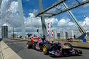 Max Verstappen drives his Toro Rosso across the Erasmus Bridge in Rotterdam